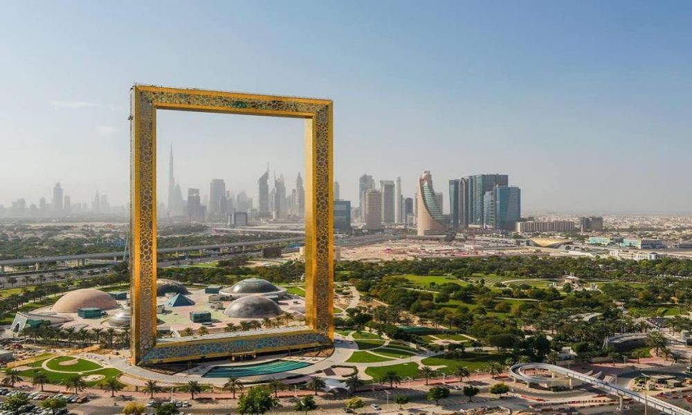 Wide angle image of Dubai Frame
